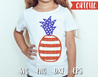 Fourth of July Svg Cut File - Pineapple Flag Svg Cut File - 4th fo July Svg Cut File - Silhouette Cut File - Cricut Cut File - Dxf - Png