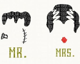 Halloween Svg - Mr. and Mrs. Halloween SVG - Mr. and Mrs. Frankenstein - Halloween Wedding Svg Cut File - Halloween Honeymoon Svg Cut FIle
