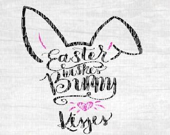 Easter Svg Cut File - Bunny Svg Cut File - Easter Wishes Bunny Nose Kisses Svg Cut File - Easter Egg Svg Cut File - Silhouette Cut File