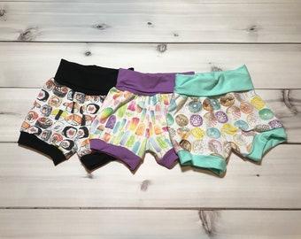 Baby, kids summer shorts clothing sets, popsicles, sushi, donut children shorts
