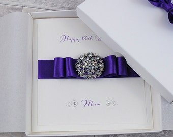LUXURY Birthday Card PERSONALISED HANDMADE Special Gift Boxed Cards Crystal