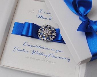 sapphire 45th wedding anniversary card