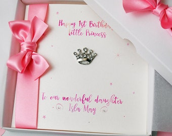 LUXURY Little Princess First Birthday Card PERSONALISED HANDMADE Boxed 1st Granddaughter Daughter