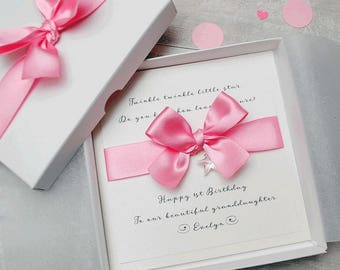 Personalised LUXURY handmade New Baby Girl Card 1st Birthday Card with BOX