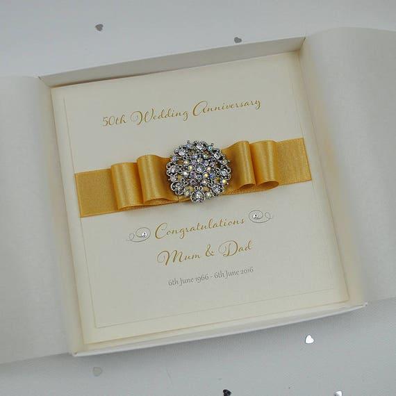 Luxury Golden Wedding Anniversary Card Handmade 50th Wedding Etsy