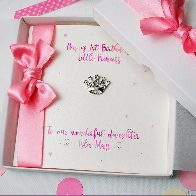LUXURY Little Princess First Birthday Card PERSONALISED