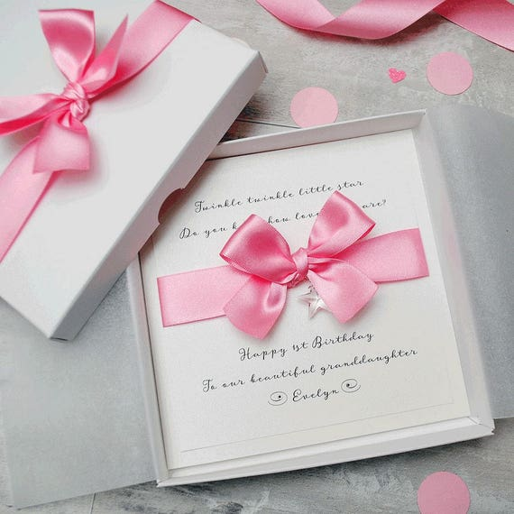 PERSONALISED 1st BIRTHDAY CARD Daughter Granddaughter Niece Gift Boxed Handmade