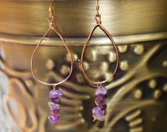 Amethyst and Copper Earrings/Third Eye Chakra Earrings/Boho Crystal Earrings/ Wire Wrap Earrings