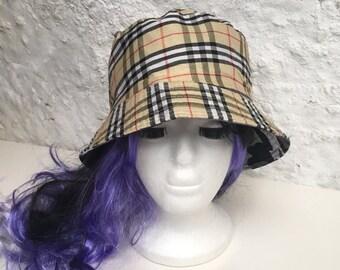 8650fa61d6feae Amazing reversible festival nova check camouflage 90's vintage bucket hat
