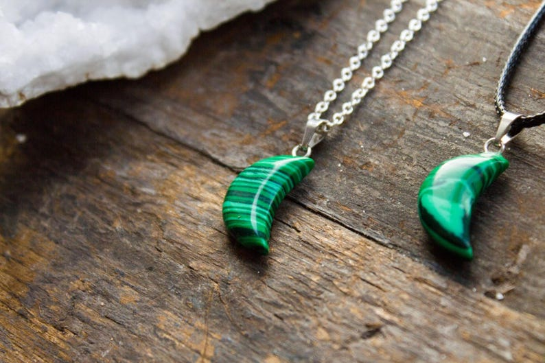 Malachite Green Moon Necklace Polished Pendant Jewelry Natural Crystal  Healing Crescent Birthday Unique Gift Gemini June Cancer July