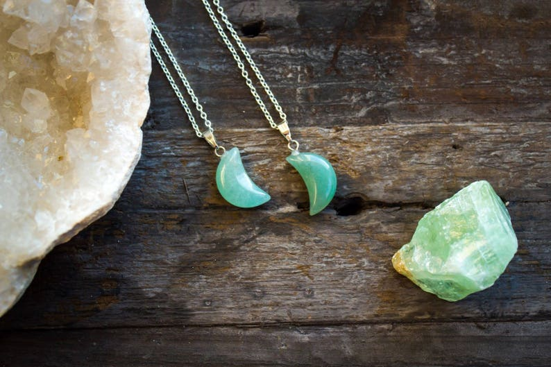 Aventurine Necklace Polished Jewellery Moon Crystal Healing Jade Crescent Pendant Mens Birthday Unique Unusual Gift   Cancer July Leo July