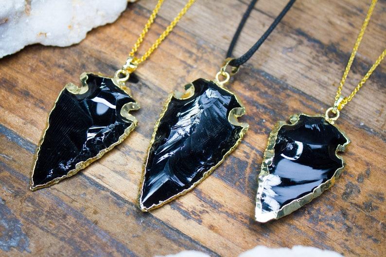 Black Obsidian Necklace Arrowhead Arrow Pendant Crystal Game of Thrones Dragon Glass Mens Birthday Gift Aries April Taurus