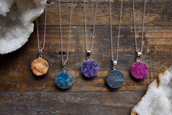 Rainbow Quartz Necklace Clear Quartz Pendant Rainbow Pendant Natural Crystal Gold Birthday Gift Unique Aries April Taurus