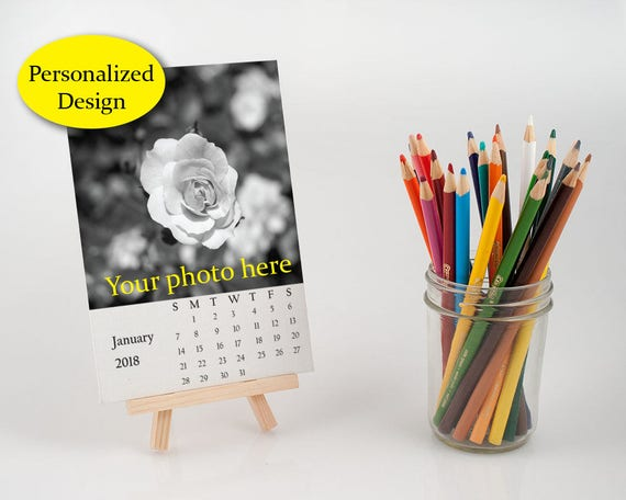 2019 personalized desk calendar with easel customize loose etsy