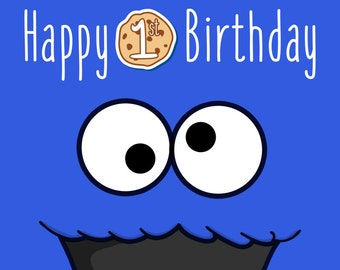Sesame Street - Cookie Monster Poster - Birthday Decoration - Room Decor - Party for Kids and Fun Sesame Street Characters