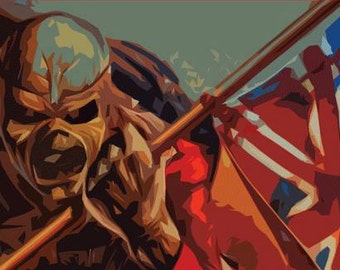 Iron Maiden Poster - The Trooper - Custom Band Posters - Heavy Metal - Eddie Head, Skeleton, Bruce Dickinson Alternative gift, England Rock