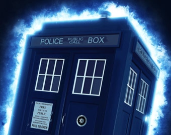 Dr. Who Poster - Tardis - Some People Live Quote - Original Art Alternative TV Show Poster - Wall Art, Best Dr. Who Quotes, Shows Print,
