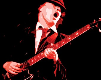 Angus Young Poster - AC/DC - Custom Music Posters - Angus Young, Malcom Young, Brian Johnson ACDC Poster Art - Hard Rock Music - Music Gift
