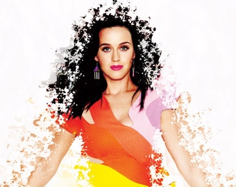 Katy Perry Poster - Colorful modern explosion type poster - Based on Prismatic World Tour - Prism Album - Singer Portrait - Girls gift