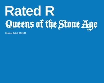 Queens of the Stone Age Poster- Rated R - Custom Band Posters - QOTSA - Josh Homme - American Rock - Rock Gift Alternative, California Band