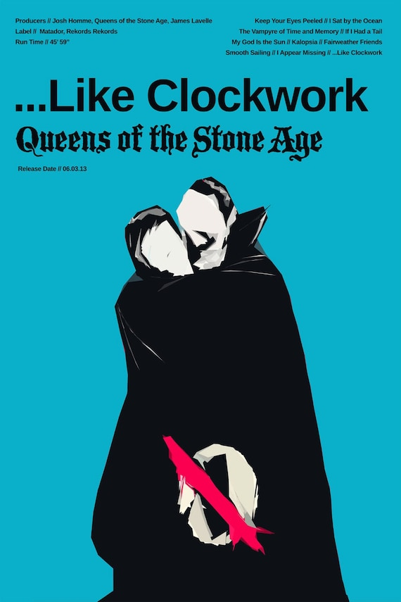 Queens of the Stone Age Poster -    Like Clockwork v2 - Custom Band Posters  - QOTSA - Josh Homme - American Rock - Rock Gift Alternative