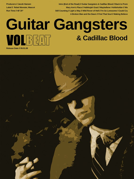 Volbeat Poster - Guitar Gangsters & Cadillac Blood - Custom Band Posters -  Denmark Heavy Metal, Michael Poulsen, Rock Gifts, Copenhagen