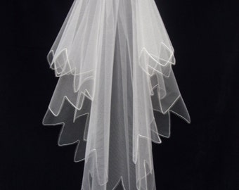 Wedding Veil - Deco/Boho style - Point scallop - Cornely freehand embroidery