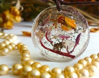 "SALE ON - Flower fairy garden handmade pendants "" Think Happy Thoughts """