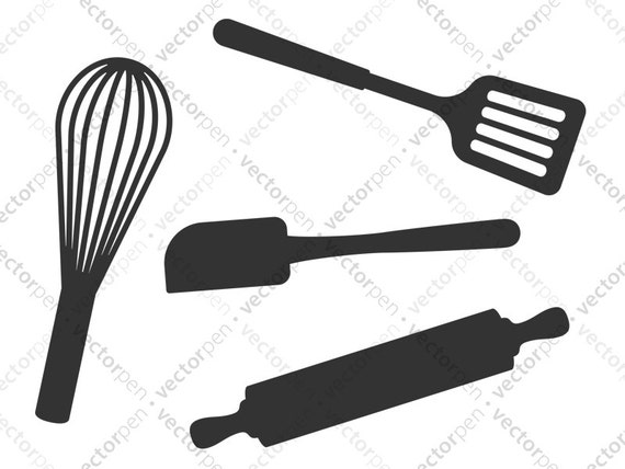 Kitchen Utensils Svg Spatula Whisk Rolling Pin Art For Etsy