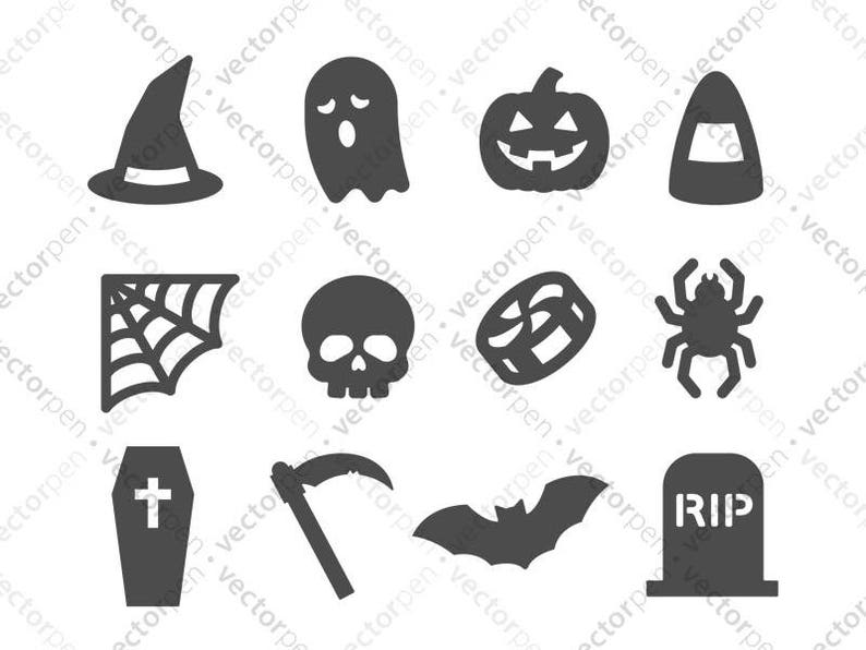 Halloween Svg Icon Pack For Scrapbooking Cricut And Etsy