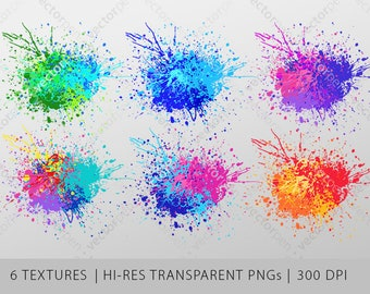 Colorful Transparent Paint Splatter PNG Texture Pack | Sublimation or Printing Background Artwork | 6 High Quality PNGs | Digital Download
