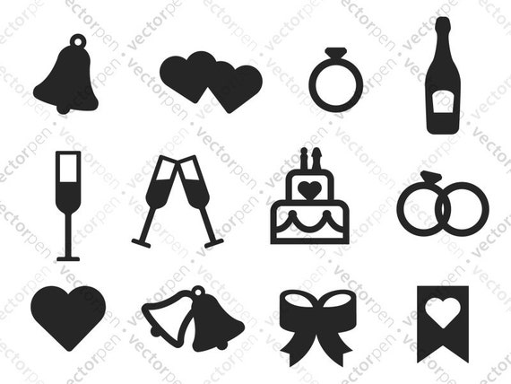 Wedding Icons Svg 12 Wedding Day Icons For Scrapbooking Etsy