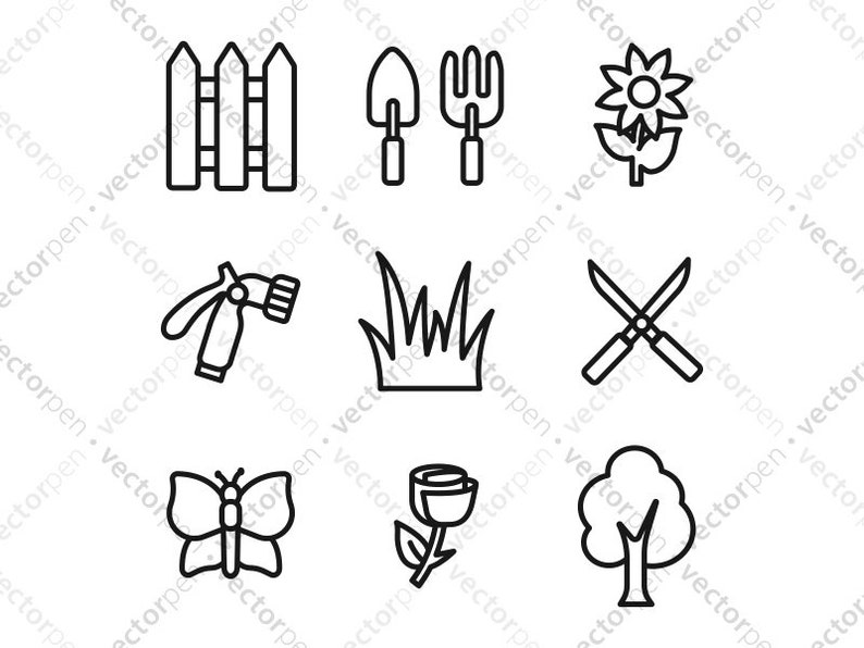 Gardening SVG Icons Set of 10  Spade, Grass, Shovel, fence, rose,etc) icons  for Scrapbooking, Cricut, and Vinly Projects  Digital Download
