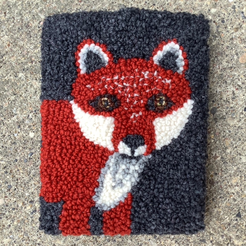 Fox Punch Needle Phone Pocket With Cross-Body Strap