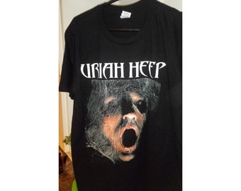 Uriah Heep Abominog Album Tee T Shirt Single Stitch L Large Faded Black