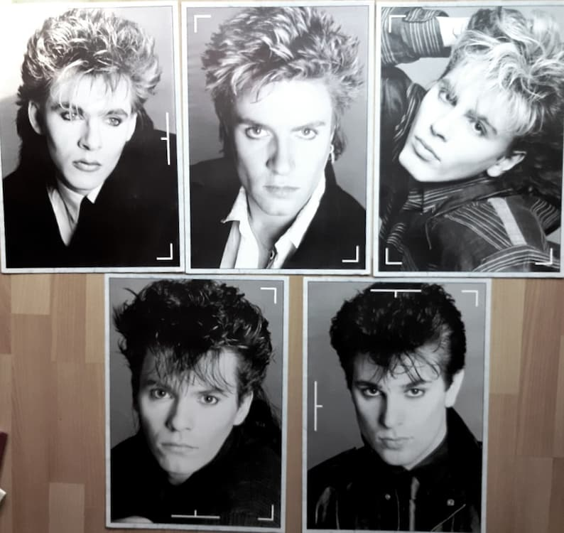 Simon Le Bon, Nick Rhodes Set of 5 compilation posters from 1984 by Tritec Music Ltd DURAN DURAN poster pack