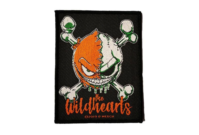 Green Skull  sew-on woven cloth patch Wildhearts patch Rock pop music patch.