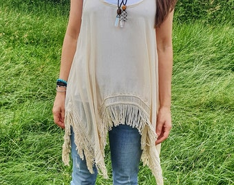 Ceremony Top | Meditation | Hippie | Floaty Top | Tassels | Organic | Beige