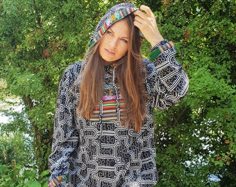Large Shipibo Hoodie   Icaros Design   Traditional Peruvian Embroidery   Sacred Clothes   Organic Materials   Unisex   Black & White
