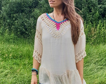 Ceremony Top | Meditation | Tribal | Hippie | Crochet | Organic | Beige