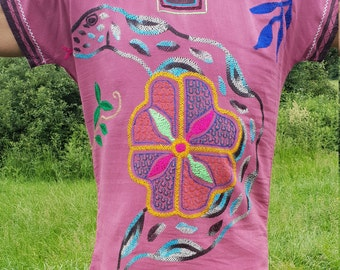 Ayahuasca Ceremony Shirt | Shipibo | Serpent | Chacruna | Tribal Art | Cerise | Medium-Large | Unisex