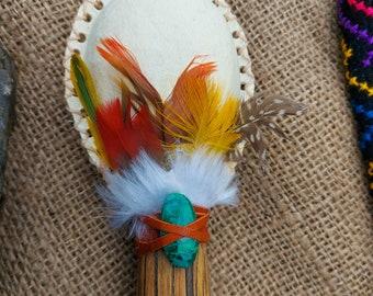 Long Ayahuasca Handle Chrysocola Crystal Feather Rattle   Shamanic Rattle   Shamanic Maraca   Healing Instrument   Medicine