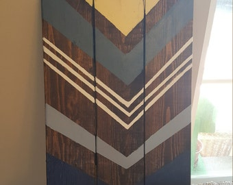 Chevron painted wood sign