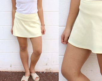 Pastel Yellow Skort Mini Skirt