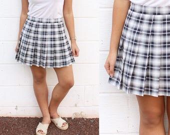 Plaid Texture Schoolgirl Pleated Skirt