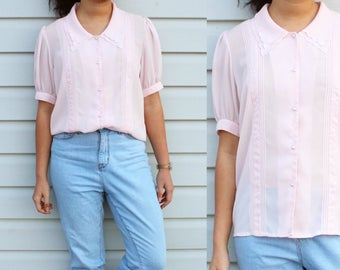 Blush Puffy Sleeve Button Up Blouse