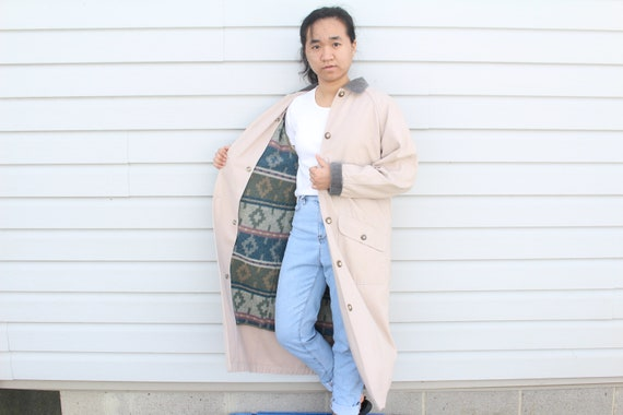Dusty Pink Longline Trench Coat - image 10