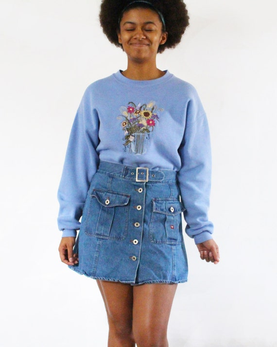 SALE Vintage High Waisted Denim Skirt Jean Skirt … - image 2