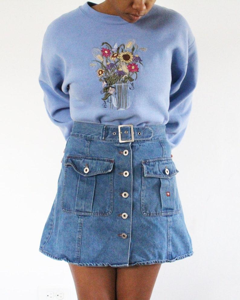 0a94744d6d Button Front Denim A Line Skirt