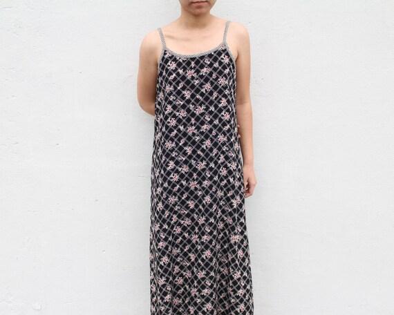 Vintage Floral Grunge Maxi Dress Flowy Slip Dress - image 5